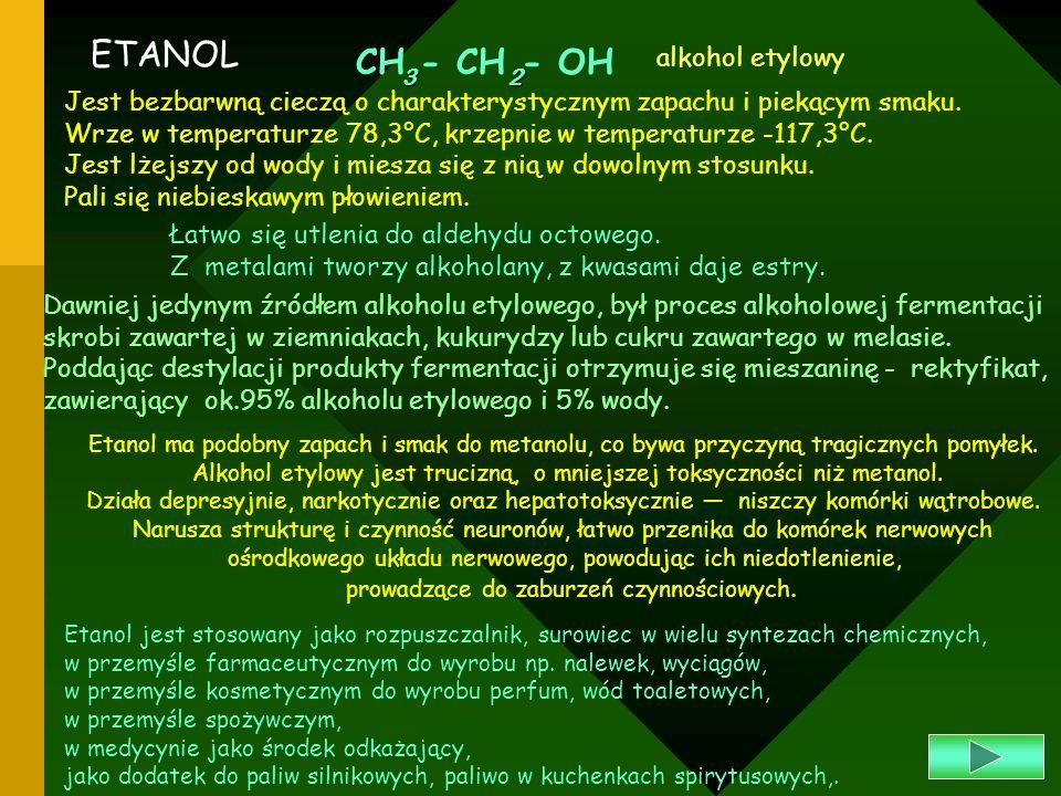 Etanol ma podobny zapach i smak do metanolu, co bywa przyczyną tragicznych pomyłek. Alkohol etylowy jest trucizną, o mniejszej toksyczności niż metano