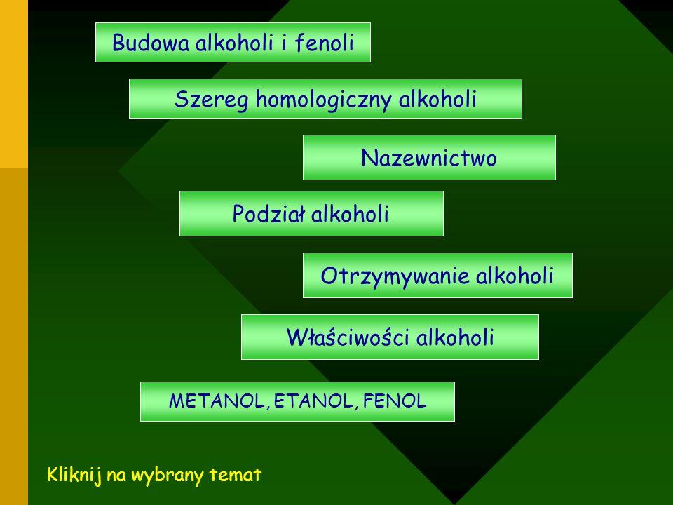 Budowa alkoholi i fenoli Szereg homologiczny alkoholi Nazewnictwo Podział alkoholi Otrzymywanie alkoholi Właściwości alkoholi METANOL, ETANOL, FENOL K