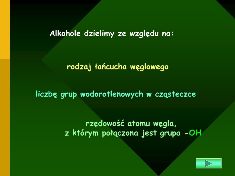 Otrzymywanie alkoholi Alkohole można otrzymać w reakcji wymiany chlorowcopochodnych węglowodorów z wodorotlenkami np.: Alkohol metylowy powstaje z gazu wodnego (gaz do syntez), w odpowiednich warunkach ciśnienia, temperatury i w obecności katalizatora Alkohol etylowy powstaje podczas fermentacji alkoholowej cukrów: C H Cl + AgOH C H OH + AgCL5225 etanolchlorek etylu wodorotlenek srebrachlorek srebra CO + 2 H CH OH 23 metanol C H O 2C H OH + 2CO 6 52 2126 glukoza etanol Spis treści