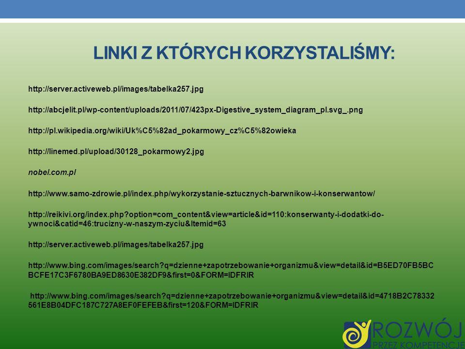 LINKI Z KTÓRYCH KORZYSTALIŚMY: http://server.activeweb.pl/images/tabelka257.jpg http://abcjelit.pl/wp-content/uploads/2011/07/423px-Digestive_system_d