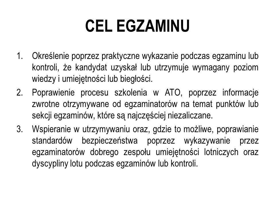 CEL EGZAMINU 1.Określenie poprzez praktyczne wykazanie podczas egzaminu lub kontroli, że kandydat uzyskał lub utrzymuje wymagany poziom wiedzy i umiej