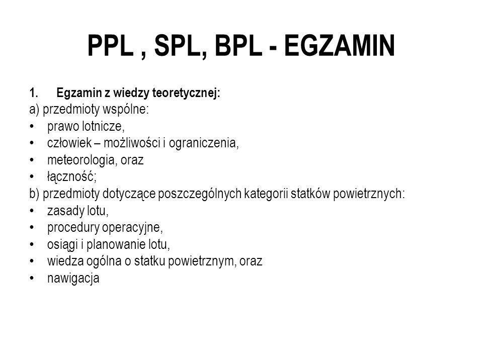 PPL, SPL, BPL - EGZAMIN 1.Egzamin z wiedzy teoretycznej: a) przedmioty wspólne: prawo lotnicze, człowiek – możliwości i ograniczenia, meteorologia, or