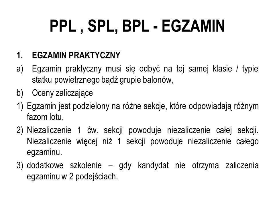 PPL, SPL, BPL - EGZAMIN 1.EGZAMIN PRAKTYCZNY a)Egzamin praktyczny musi się odbyć na tej samej klasie / typie statku powietrznego bądź grupie balonów,