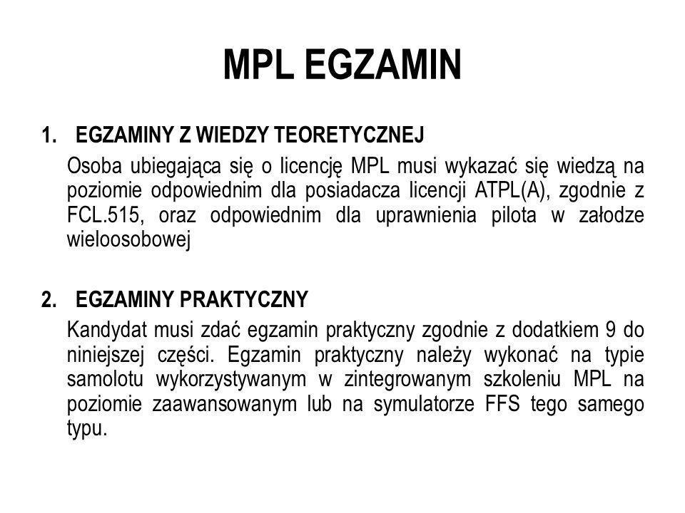 MPL EGZAMIN 1.EGZAMINY Z WIEDZY TEORETYCZNEJ Osoba ubiegająca się o licencję MPL musi wykazać się wiedzą na poziomie odpowiednim dla posiadacza licenc