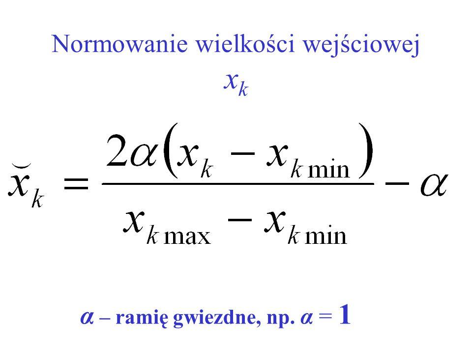 Normowanie wielkości wejściowej x k α – ramię gwiezdne, np. α = 1
