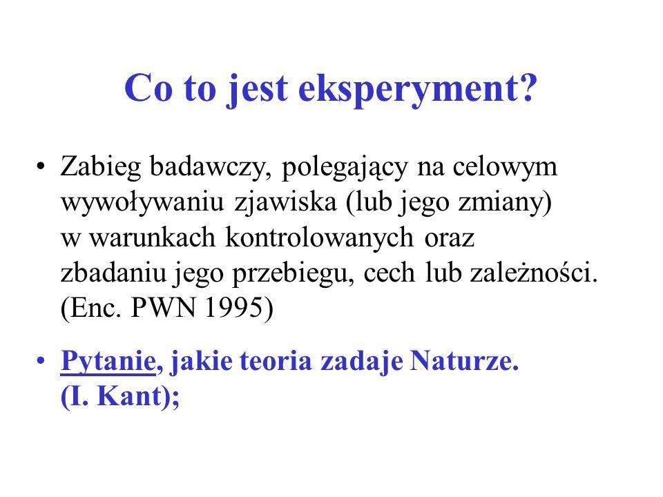 Co to jest eksperyment? Zabieg badawczy, polegający na celowym wywoływaniu zjawiska (lub jego zmiany) w warunkach kontrolowanych oraz zbadaniu jego pr