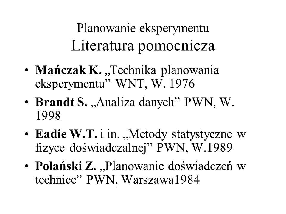 Planowanie eksperymentu Literatura pomocnicza Mańczak K. Technika planowania eksperymentu WNT, W. 1976 Brandt S. Analiza danych PWN, W. 1998 Eadie W.T