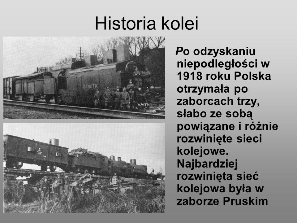 Historia kolei Po odzyskaniu niepodległości w 1918 roku Polska otrzymała po zaborcach trzy, słabo ze sobą powiązane i różnie rozwinięte sieci kolejowe