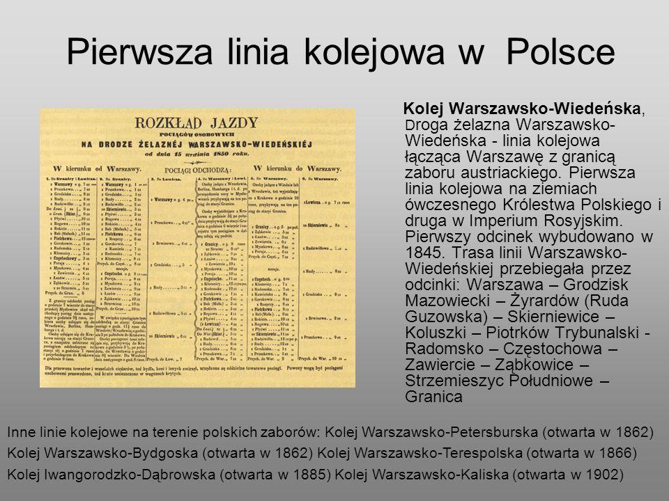 Pierwsza linia kolejowa w Polsce Kolej Warszawsko-Wiedeńska, D roga żelazna Warszawsko- Wiedeńska - linia kolejowa łącząca Warszawę z granicą zaboru a