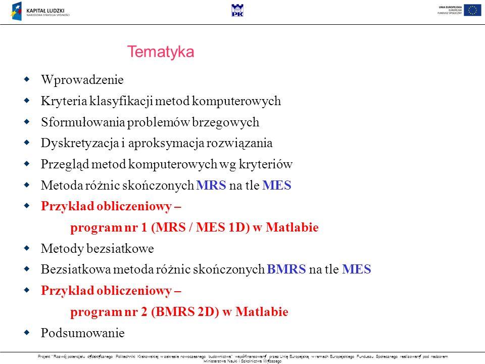 Projekt Rozwój potencjału dydaktycznego Politechniki Krakowskiej w zakresie nowoczesnego budownictwa współfinansowany przez Unię Europejską w ramach Europejskiego Funduszu Społecznego realizowany pod nadzorem Ministerstwa Nauki i Szkolnictwa Wyższego Przykład obliczeniowy – BMRS w zagadnieniach 2D Zagadnienie: Wyznaczenie całkowitych naprężeń skręcających w pręcie pryzmatycznym Metody: BMRS w sformułowaniu lokalnym BMRS w sformułowaniu wariacyjnym Cele: Porównanie jakości rozwiązań BMRS Analiza zbieżności na siatkach regularnych Przykładowa adaptacja siatki Sf.
