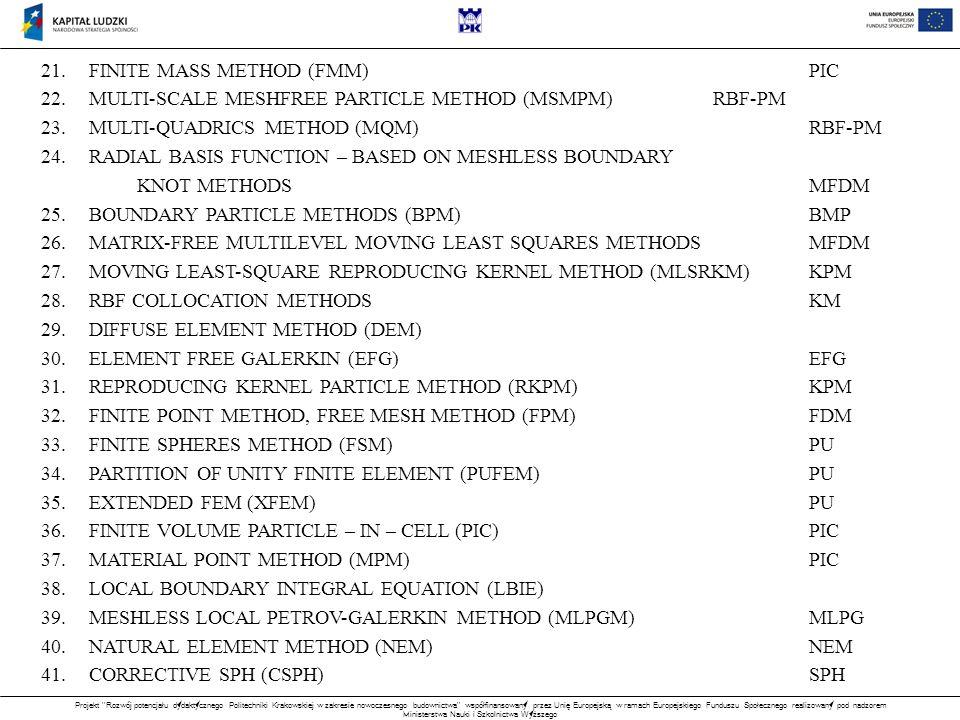 Projekt Rozwój potencjału dydaktycznego Politechniki Krakowskiej w zakresie nowoczesnego budownictwa współfinansowany przez Unię Europejską w ramach Europejskiego Funduszu Społecznego realizowany pod nadzorem Ministerstwa Nauki i Szkolnictwa Wyższego 21.FINITE MASS METHOD (FMM)PIC 22.MULTI-SCALE MESHFREE PARTICLE METHOD (MSMPM)RBF-PM 23.MULTI-QUADRICS METHOD (MQM)RBF-PM 24.RADIAL BASIS FUNCTION – BASED ON MESHLESS BOUNDARY KNOT METHODSMFDM 25.BOUNDARY PARTICLE METHODS (BPM)BMP 26.MATRIX-FREE MULTILEVEL MOVING LEAST SQUARES METHODSMFDM 27.MOVING LEAST-SQUARE REPRODUCING KERNEL METHOD (MLSRKM)KPM 28.RBF COLLOCATION METHODSKM 29.DIFFUSE ELEMENT METHOD (DEM) 30.ELEMENT FREE GALERKIN (EFG)EFG 31.REPRODUCING KERNEL PARTICLE METHOD (RKPM)KPM 32.FINITE POINT METHOD, FREE MESH METHOD (FPM)FDM 33.FINITE SPHERES METHOD (FSM)PU 34.PARTITION OF UNITY FINITE ELEMENT (PUFEM)PU 35.EXTENDED FEM (XFEM)PU 36.FINITE VOLUME PARTICLE – IN – CELL (PIC)PIC 37.MATERIAL POINT METHOD (MPM)PIC 38.LOCAL BOUNDARY INTEGRAL EQUATION (LBIE) 39.MESHLESS LOCAL PETROV-GALERKIN METHOD (MLPGM)MLPG 40.NATURAL ELEMENT METHOD (NEM)NEM 41.CORRECTIVE SPH (CSPH)SPH