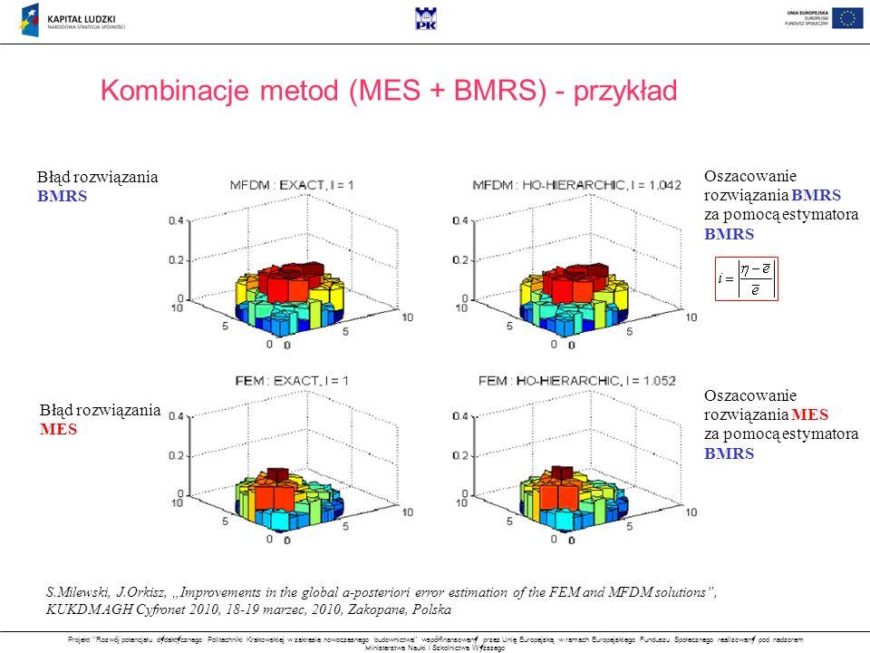 Projekt Rozwój potencjału dydaktycznego Politechniki Krakowskiej w zakresie nowoczesnego budownictwa współfinansowany przez Unię Europejską w ramach Europejskiego Funduszu Społecznego realizowany pod nadzorem Ministerstwa Nauki i Szkolnictwa Wyższego Kombinacje metod (MES + BMRS) - przykład Błąd rozwiązania BMRS Błąd rozwiązania MES Oszacowanie rozwiązania BMRS za pomocą estymatora BMRS Oszacowanie rozwiązania MES za pomocą estymatora BMRS S.Milewski, J.Orkisz, Improvements in the global a-posteriori error estimation of the FEM and MFDM solutions, KUKDM AGH Cyfronet 2010, 18-19 marzec, 2010, Zakopane, Polska