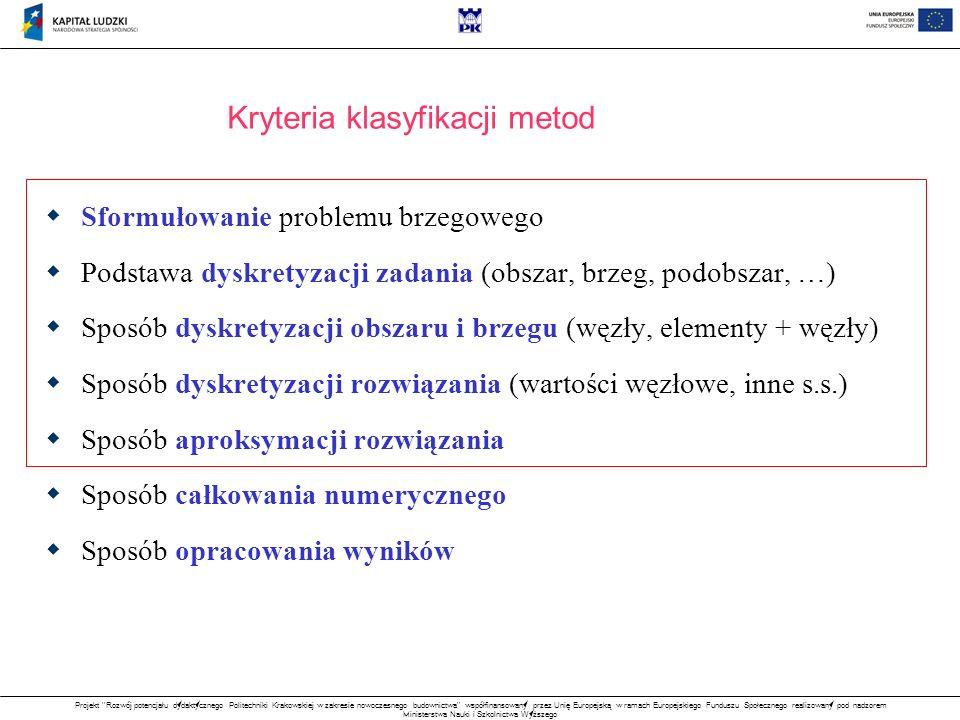 Projekt Rozwój potencjału dydaktycznego Politechniki Krakowskiej w zakresie nowoczesnego budownictwa współfinansowany przez Unię Europejską w ramach Europejskiego Funduszu Społecznego realizowany pod nadzorem Ministerstwa Nauki i Szkolnictwa Wyższego Kryteria klasyfikacji metod Sformułowanie problemu brzegowego Podstawa dyskretyzacji zadania (obszar, brzeg, podobszar, …) Sposób dyskretyzacji obszaru i brzegu (węzły, elementy + węzły) Sposób dyskretyzacji rozwiązania (wartości węzłowe, inne s.s.) Sposób aproksymacji rozwiązania Sposób całkowania numerycznego Sposób opracowania wyników