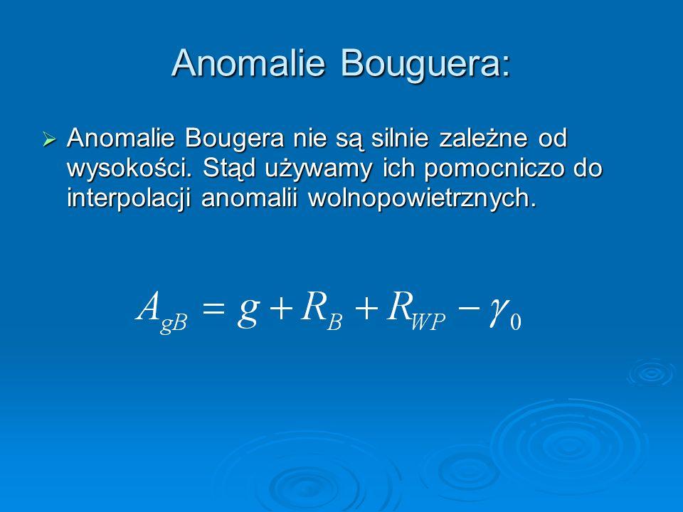 Anomalie Bouguera: Anomalie Bougera nie są silnie zależne od wysokości. Stąd używamy ich pomocniczo do interpolacji anomalii wolnopowietrznych. Anomal