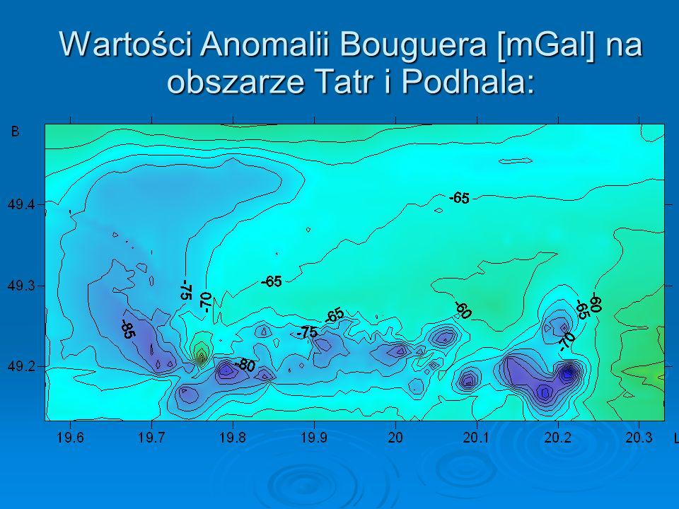 Wartości Anomalii Bouguera [mGal] na obszarze Tatr i Podhala: