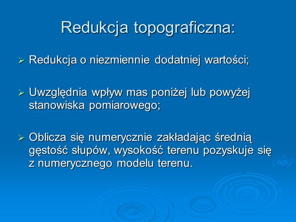 Redukcja topograficzna: Redukcja o niezmiennie dodatniej wartości; Redukcja o niezmiennie dodatniej wartości; Uwzględnia wpływ mas poniżej lub powyżej