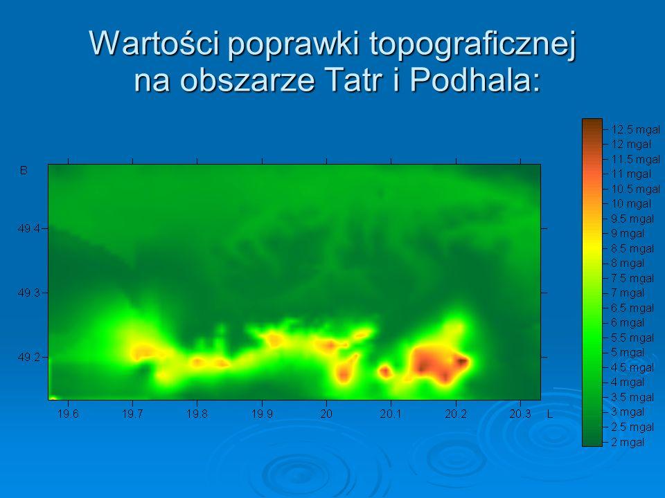 Wartości poprawki topograficznej na obszarze Tatr i Podhala: