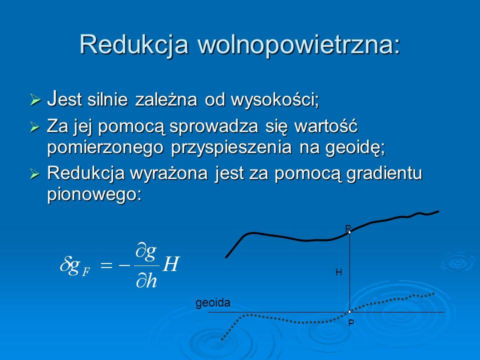 Redukcja wolnopowietrzna: J est silnie zależna od wysokości; J est silnie zależna od wysokości; Za jej pomocą sprowadza się wartość pomierzonego przys