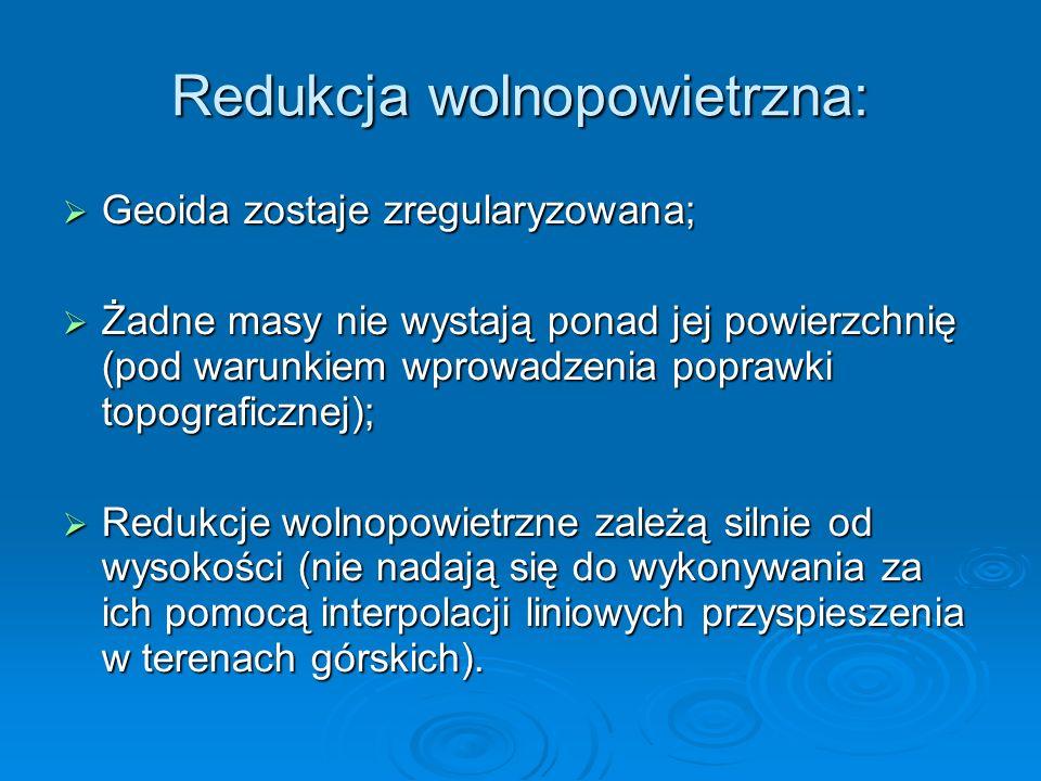 Redukcja wolnopowietrzna: Geoida zostaje zregularyzowana; Geoida zostaje zregularyzowana; Żadne masy nie wystają ponad jej powierzchnię (pod warunkiem