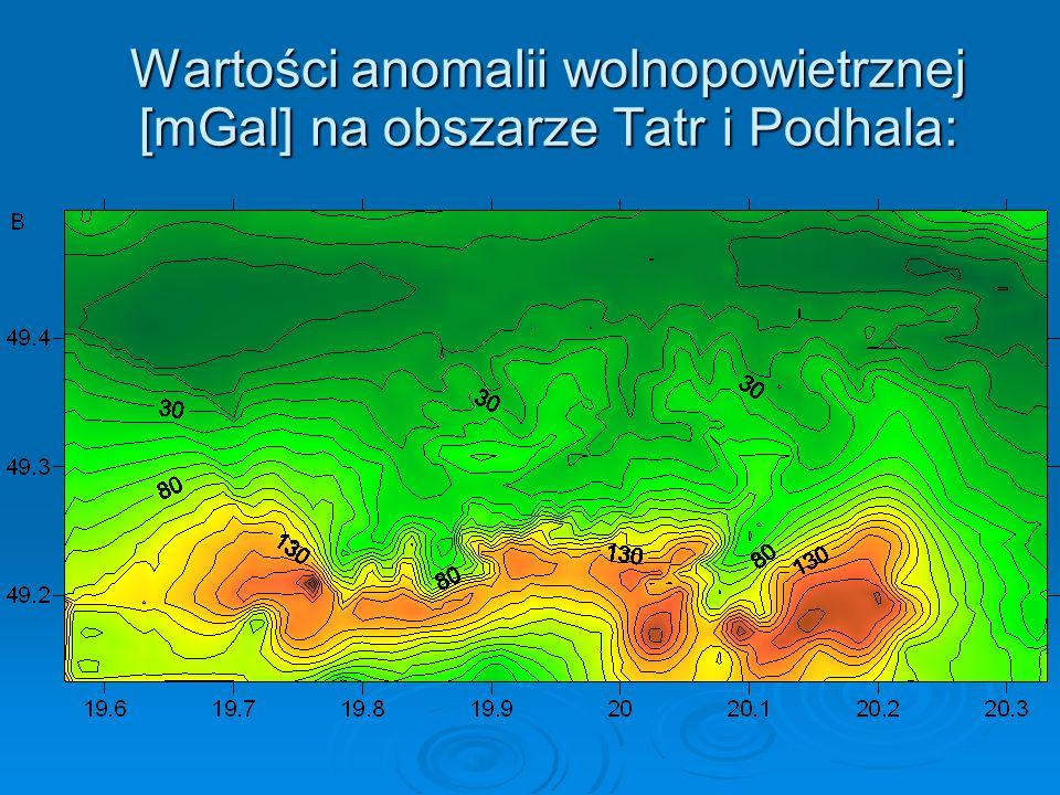 Wartości anomalii wolnopowietrznej [mGal] na obszarze Tatr i Podhala: