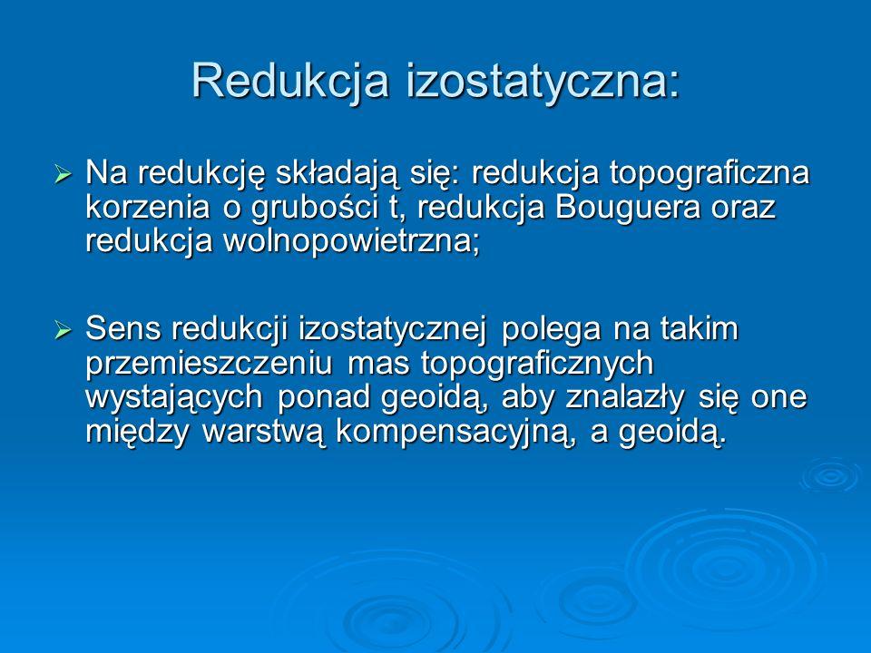 Redukcja izostatyczna: Na redukcję składają się: redukcja topograficzna korzenia o grubości t, redukcja Bouguera oraz redukcja wolnopowietrzna; Na red