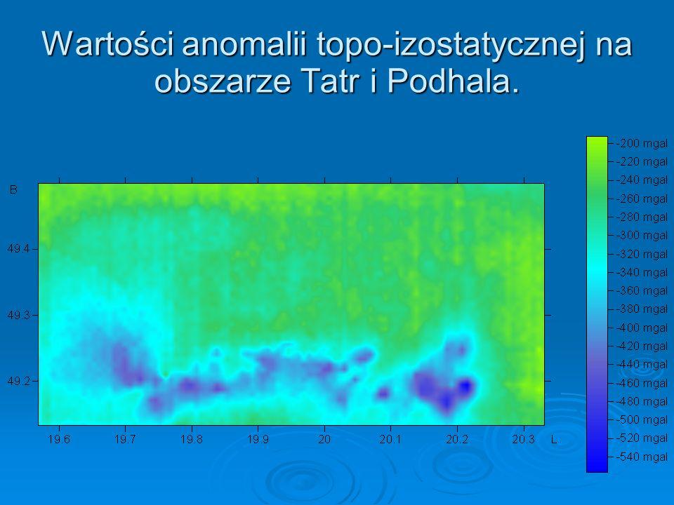 Wartości anomalii topo-izostatycznej na obszarze Tatr i Podhala.