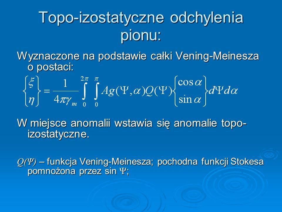 Topo-izostatyczne odchylenia pionu: Wyznaczone na podstawie całki Vening-Meinesza o postaci: W miejsce anomalii wstawia się anomalie topo- izostatyczn
