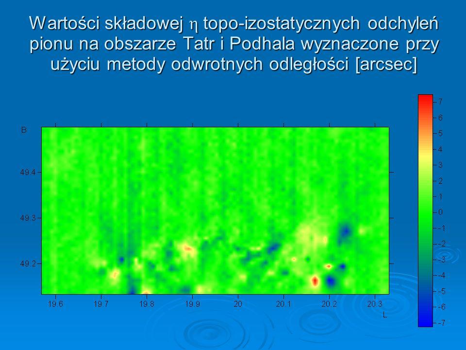 Wartości składowej η topo-izostatycznych odchyleń pionu na obszarze Tatr i Podhala wyznaczone przy użyciu metody odwrotnych odległości [arcsec]