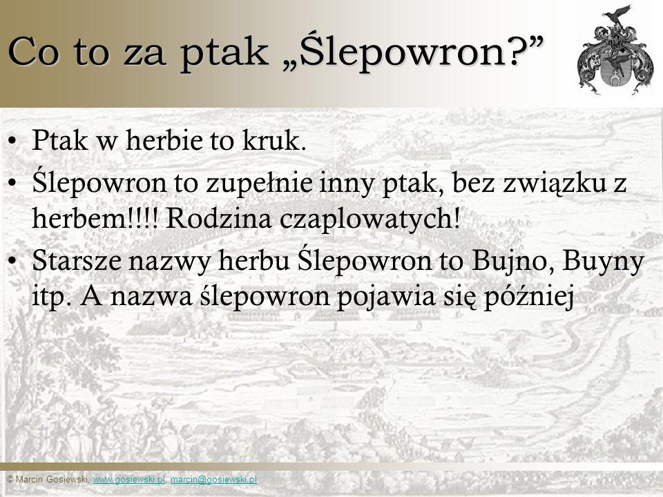© Marcin Gosiewski, www.gosiewski.pl, marcin@gosiewski.plwww.gosiewski.plmarcin@gosiewski.pl Co to za ptak Ślepowron? Ptak w herbie to kruk. Ś lepowro