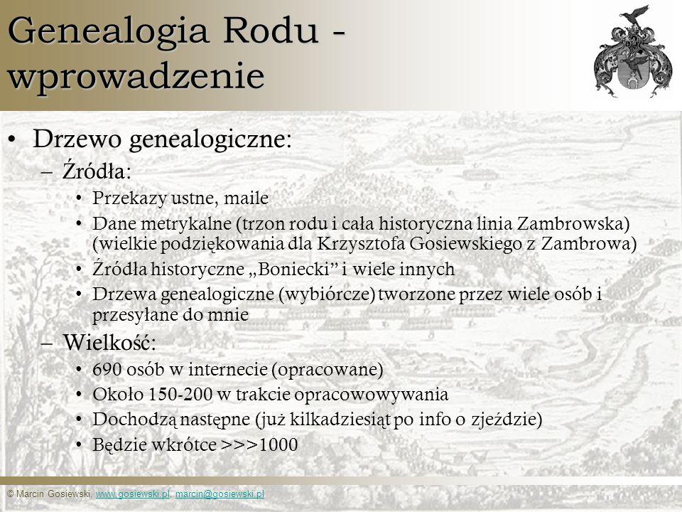 © Marcin Gosiewski, www.gosiewski.pl, marcin@gosiewski.plwww.gosiewski.plmarcin@gosiewski.pl Genealogia Rodu - wprowadzenie Drzewo genealogiczne: – Ź