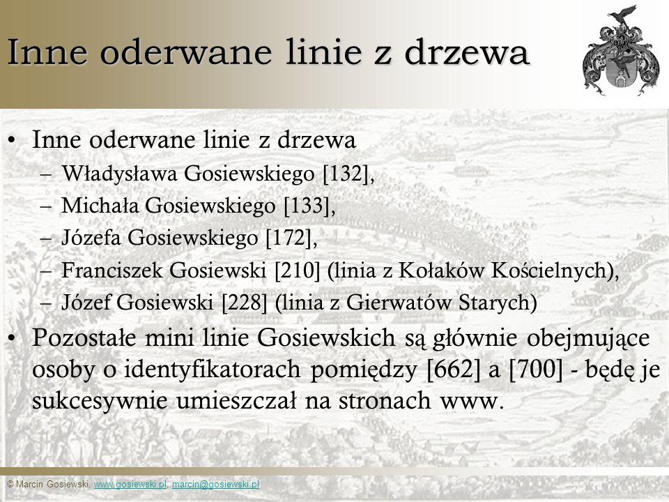 © Marcin Gosiewski, www.gosiewski.pl, marcin@gosiewski.plwww.gosiewski.plmarcin@gosiewski.pl Inne oderwane linie z drzewa –W ł adys ł awa Gosiewskiego