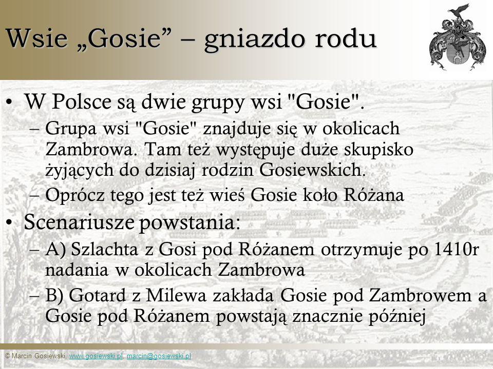 © Marcin Gosiewski, www.gosiewski.pl, marcin@gosiewski.plwww.gosiewski.plmarcin@gosiewski.pl Wsie Gosie – gniazdo rodu W Polsce s ą dwie grupy wsi