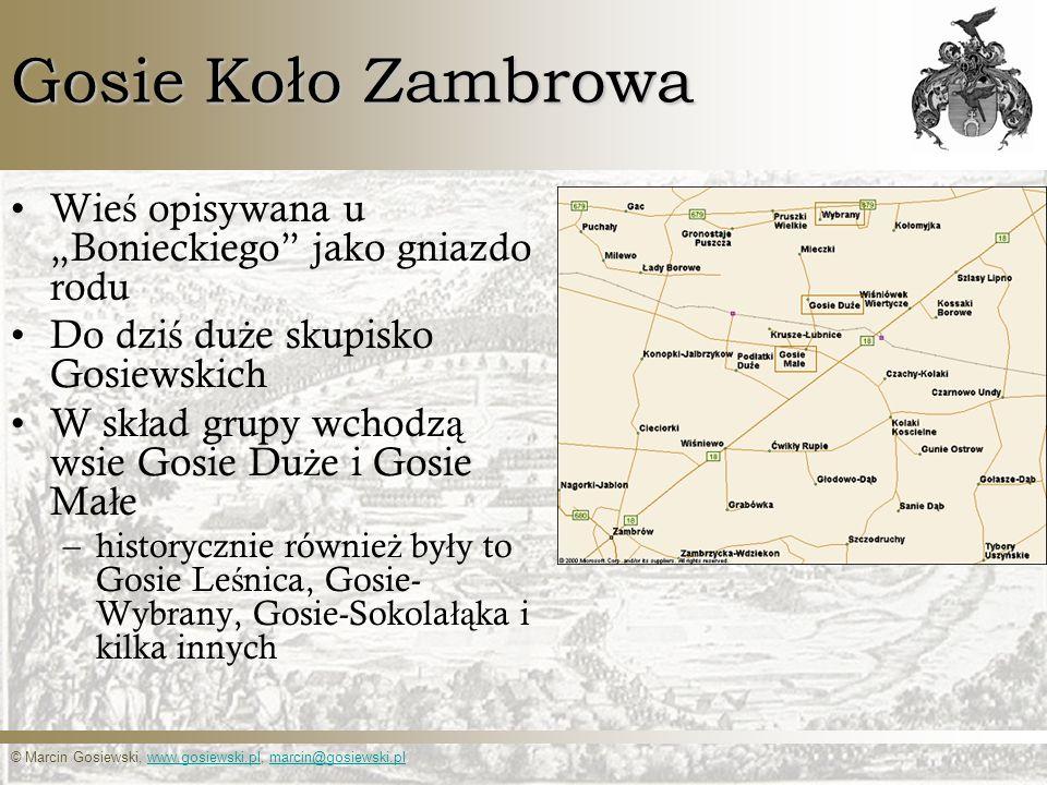 © Marcin Gosiewski, www.gosiewski.pl, marcin@gosiewski.plwww.gosiewski.plmarcin@gosiewski.pl Gosie Koło Zambrowa – źródła historyczne, powstanie Osadnictwo zwi ą zane jest z nadaniami po bitwie pod Grunwaldem.