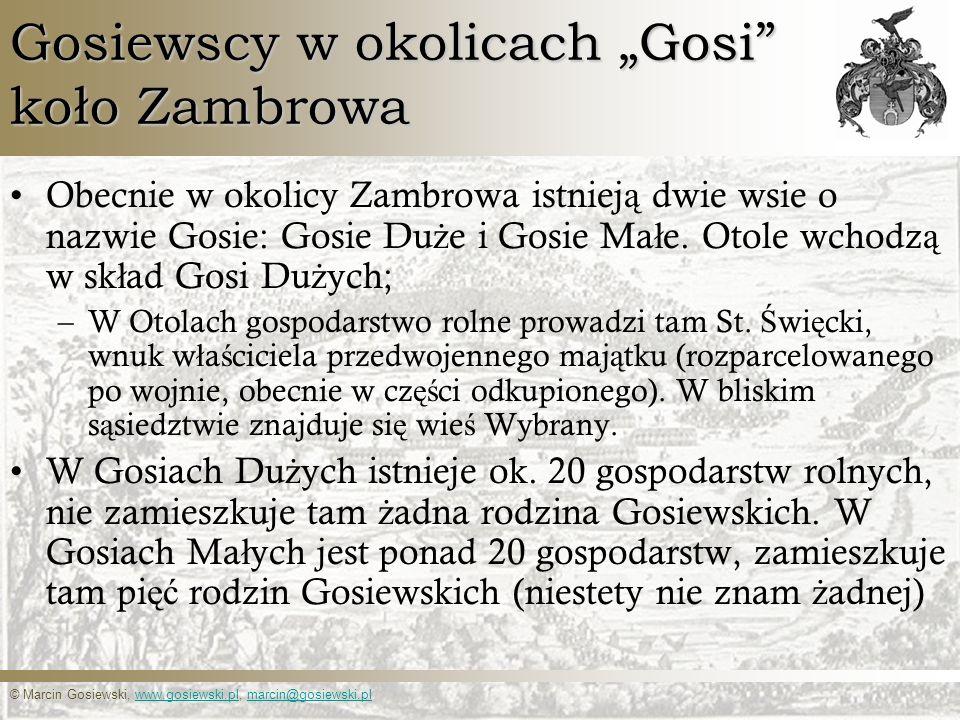 © Marcin Gosiewski, www.gosiewski.pl, marcin@gosiewski.plwww.gosiewski.plmarcin@gosiewski.pl Gosiewscy w okolicach Gosi koło Zambrowa Obecnie w okolic