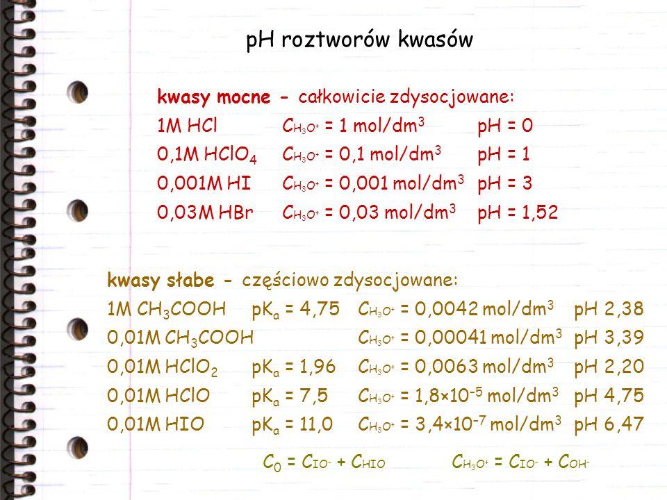 pH roztworów kwasów kwasy słabe - częściowo zdysocjowane: 1M CH 3 COOH pK a = 4,75C H 3 O + = 0,0042 mol/dm 3 pH 2,38 0,01M CH 3 COOHC H 3 O + = 0,000