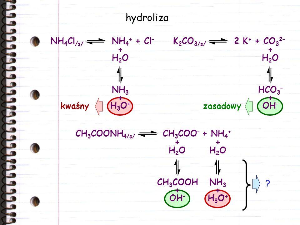 ? zasadowykwaśny hydroliza CH 3 COONH 4/s/ CH 3 COO – + NH 4 + NH 4 Cl /s/ NH 4 + + Cl – + H 2 O NH 3 + H 3 O + K 2 CO 3/s/ 2 K + + CO 3 2– + H 2 O HC