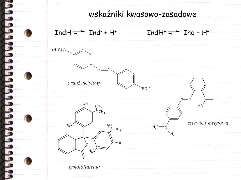 wskaźniki kwasowo-zasadowe IndH Ind – + H + IndH + Ind + H + oranż metylowy czerwień metylowa tymoloftaleina