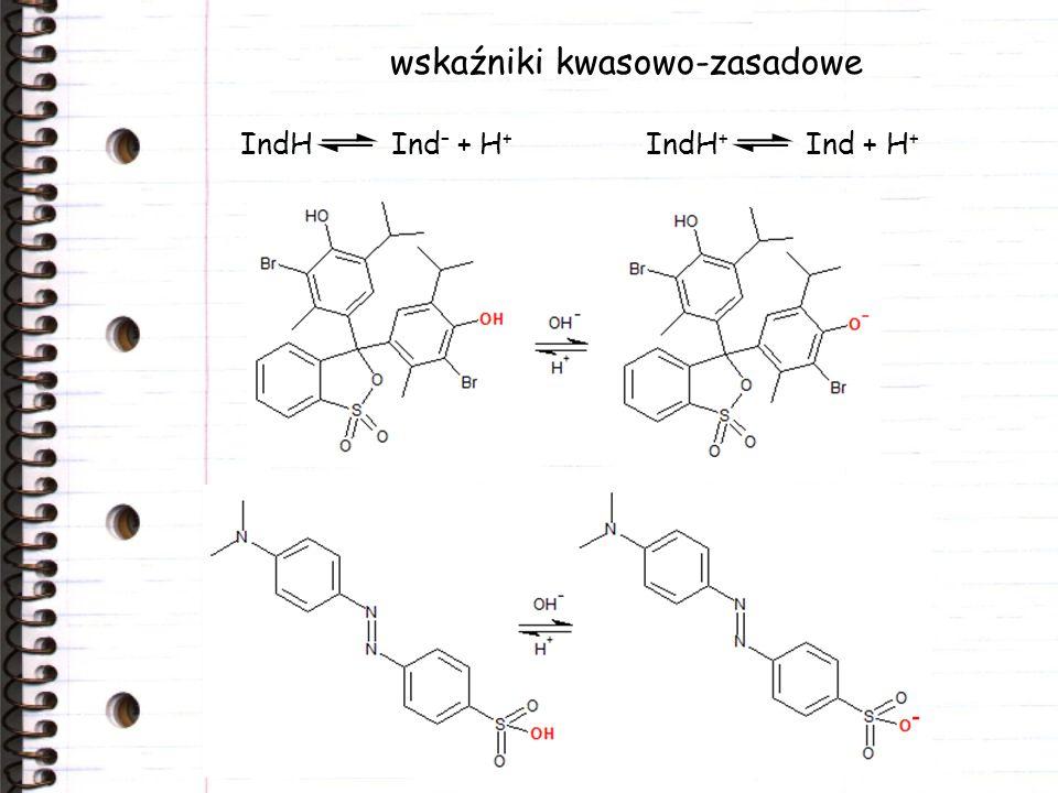 wskaźniki kwasowo-zasadowe IndH Ind – + H + IndH + Ind + H +