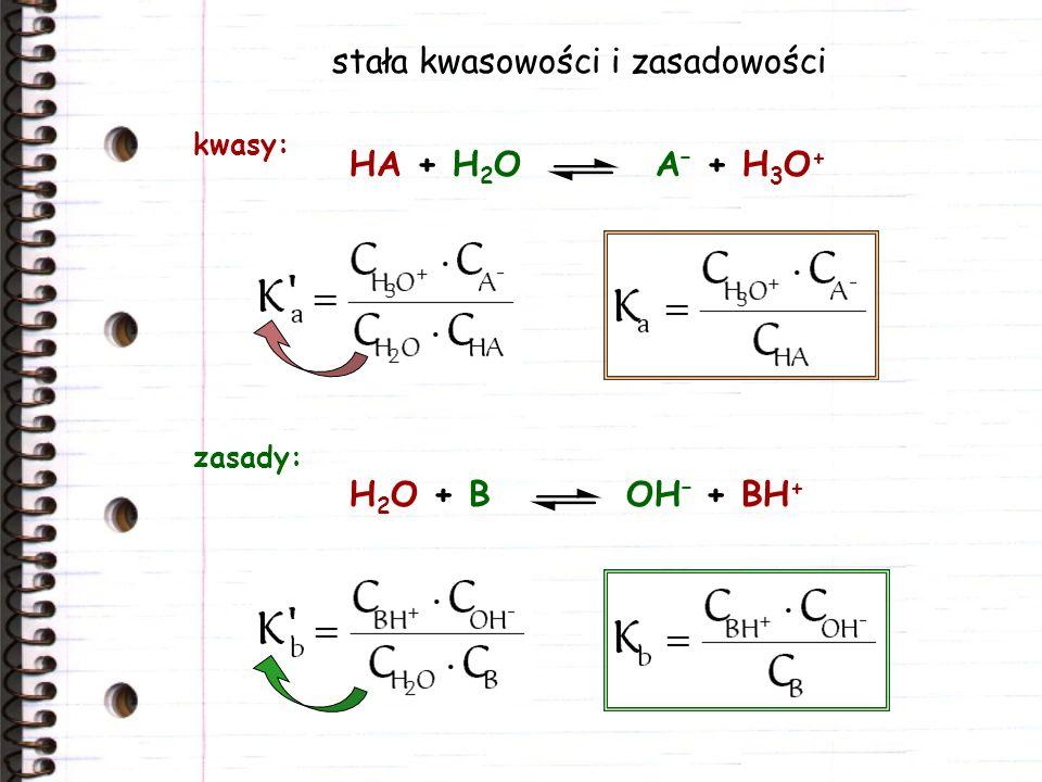 stała kwasowości i zasadowości HA + H 2 O A – + H 3 O + kwasy: H 2 O + B OH – + BH + zasady: