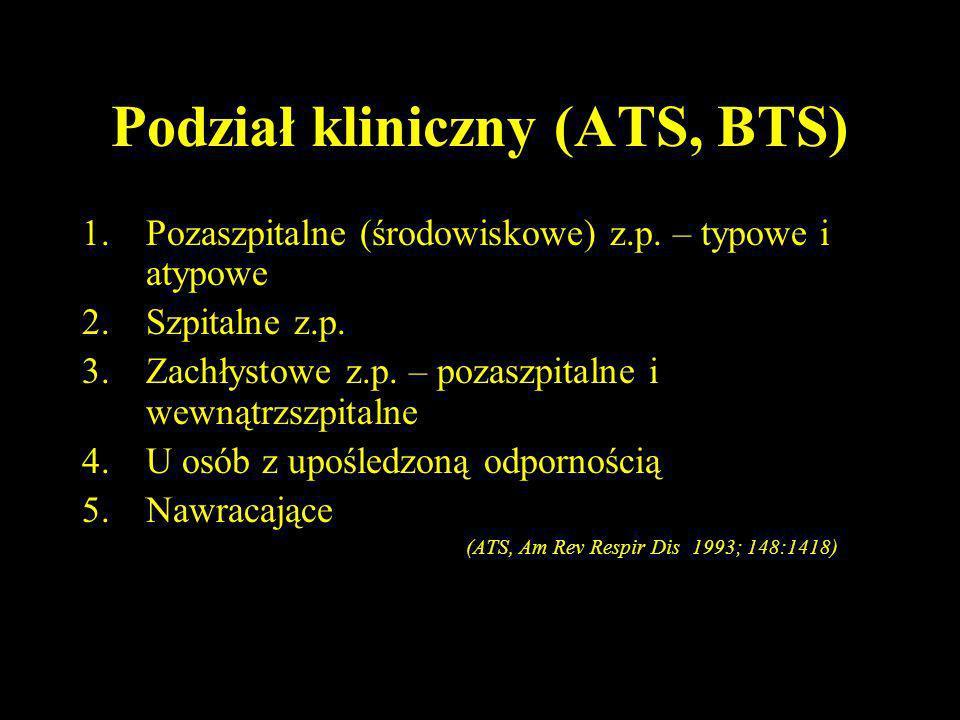 Podział kliniczny (ATS, BTS) 1.Pozaszpitalne (środowiskowe) z.p. – typowe i atypowe 2.Szpitalne z.p. 3.Zachłystowe z.p. – pozaszpitalne i wewnątrzszpi