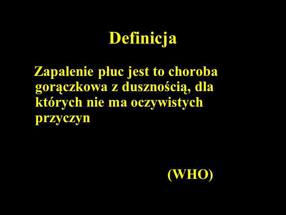 Definicja Zapalenie płuc jest to choroba gorączkowa z dusznością, dla których nie ma oczywistych przyczyn (WHO)