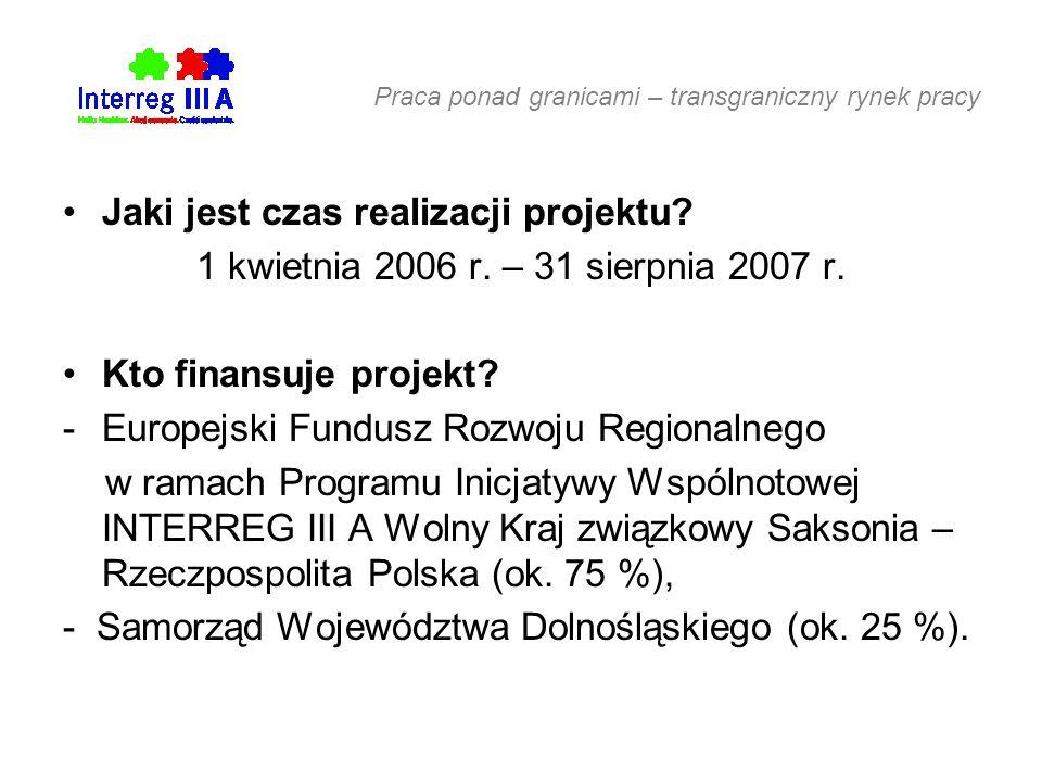 Praca ponad granicami – transgraniczny rynek pracy Jaki jest czas realizacji projektu.