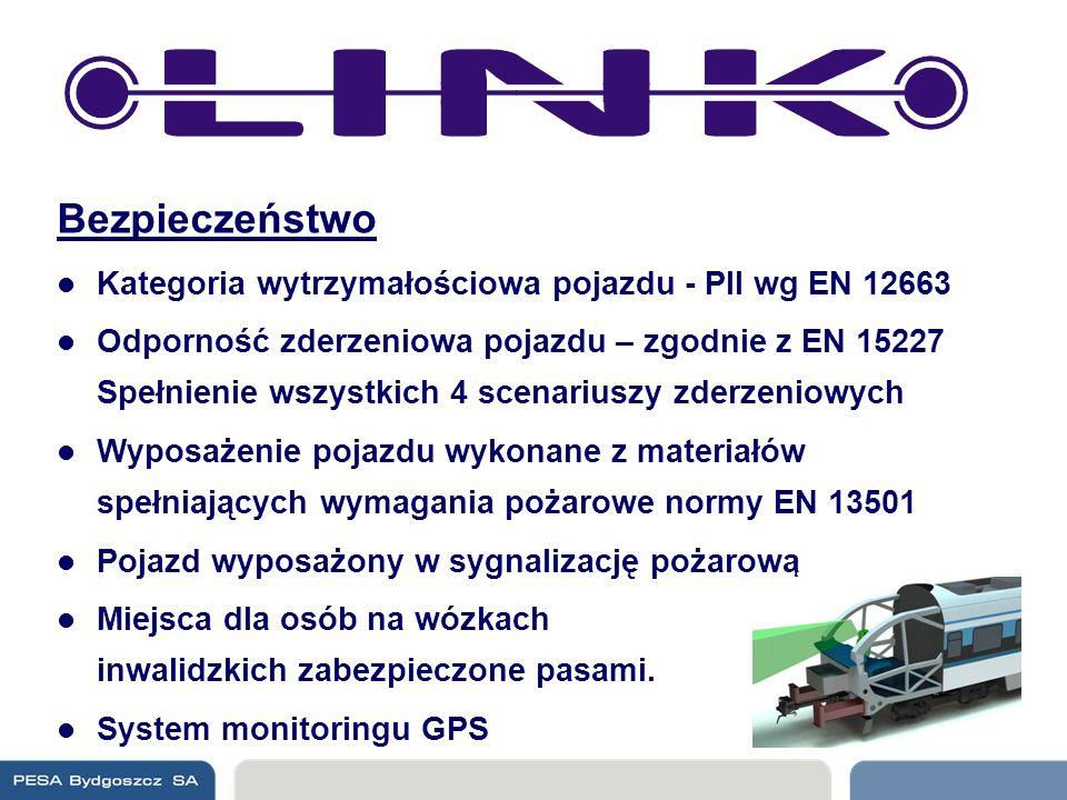 Bezpieczeństwo Kategoria wytrzymałościowa pojazdu - PII wg EN 12663 Odporność zderzeniowa pojazdu – zgodnie z EN 15227 Spełnienie wszystkich 4 scenari