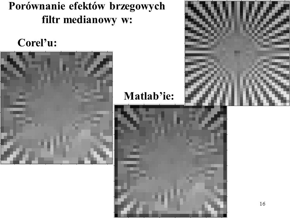 16 Porównanie efektów brzegowych filtr medianowy w: Corelu: Matlabie: