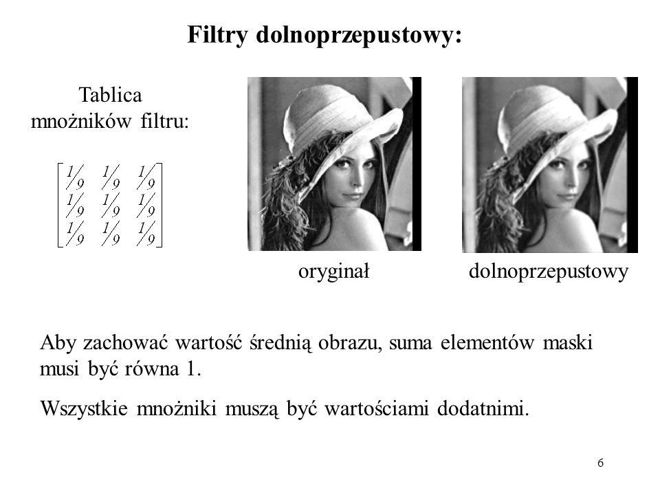 6 Filtry dolnoprzepustowy: Tablica mnożników filtru: oryginałdolnoprzepustowy Aby zachować wartość średnią obrazu, suma elementów maski musi być równa