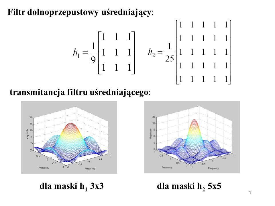 7 Filtr dolnoprzepustowy uśredniający: transmitancja filtru uśredniającego: dla maski h 1 3x3dla maski h 2 5x5