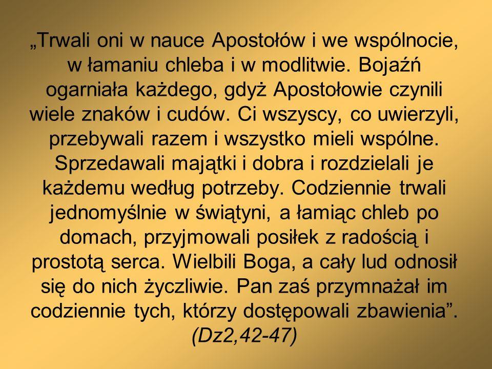 Trwali oni w nauce Apostołów i we wspólnocie, w łamaniu chleba i w modlitwie. Bojaźń ogarniała każdego, gdyż Apostołowie czynili wiele znaków i cudów.