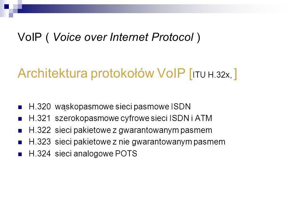 VoIP ( Voice over Internet Protocol ) Architektura protokołów VoIP [ ITU H.32x, ] H.320 wąskopasmowe sieci pasmowe ISDN H.321 szerokopasmowe cyfrowe s
