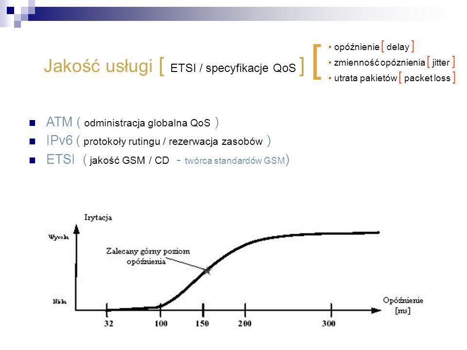 Jakość usługi [ ETSI / specyfikacje QoS ] [ ATM ( odministracja globalna QoS ) IPv6 ( protokoły rutingu / rezerwacja zasobów ) ETSI ( jakość GSM / CD