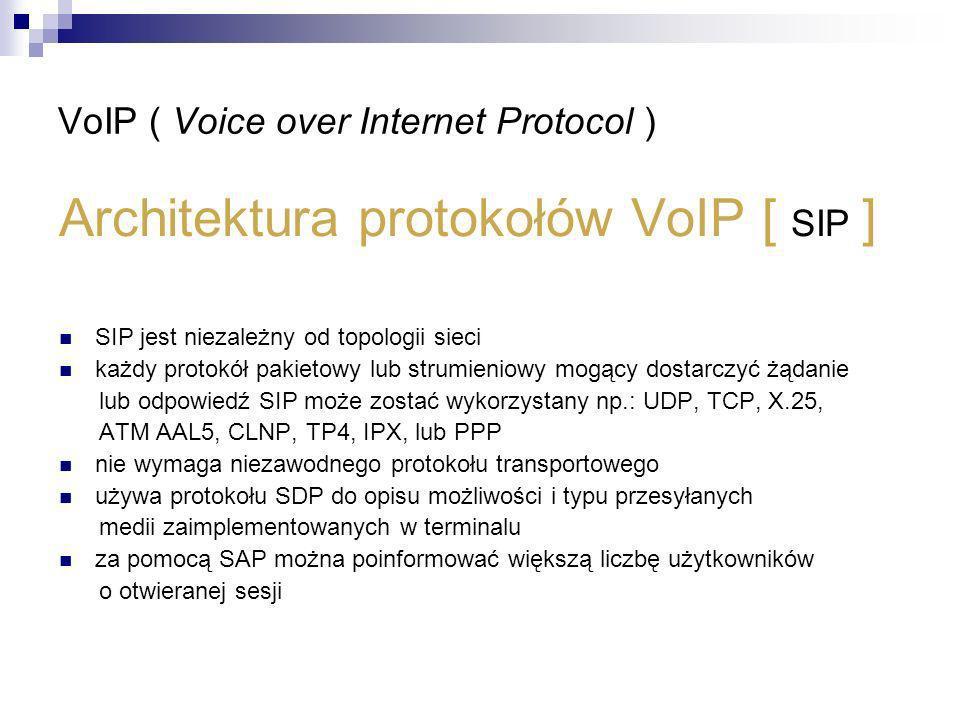 VoIP ( Voice over Internet Protocol ) Architektura protokołów VoIP [ SIP ] SIP jest niezależny od topologii sieci każdy protokół pakietowy lub strumie
